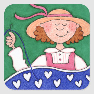 The Contented Quilter Folk Art SQUARE Stickers