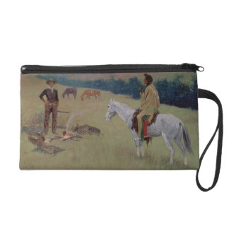 The Conversation, or Dubious Company (oil on canva Wristlet Clutch