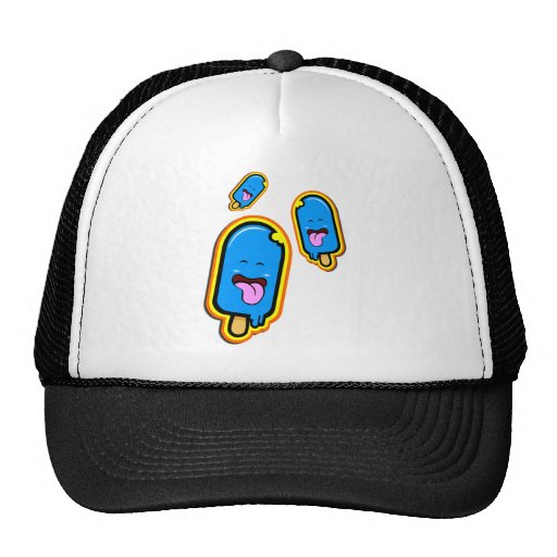 The Cool Sweet Stuff - blue happy ice cream design Mesh Hats