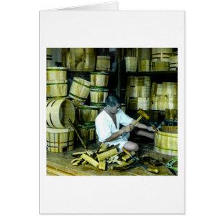 The Cooper Making Barrels in Old Japan Vintage Card