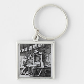 The Copper-plate Engraver, from 'Iets voor Silver-Colored Square Keychain