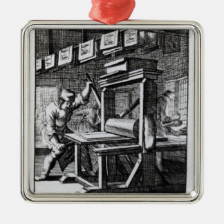 The Copper-plate Engraver, from 'Iets voor Silver-Colored Square Ornament