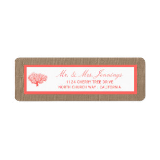 The Coral On Burlap Boho Beach Wedding Collection Return Address Label