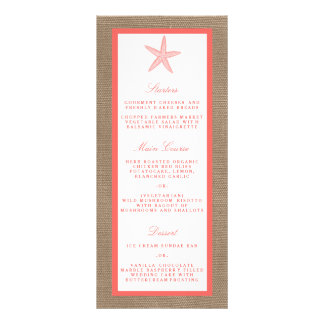 The Coral Starfish Burlap Beach Wedding Collection Customized Rack Card