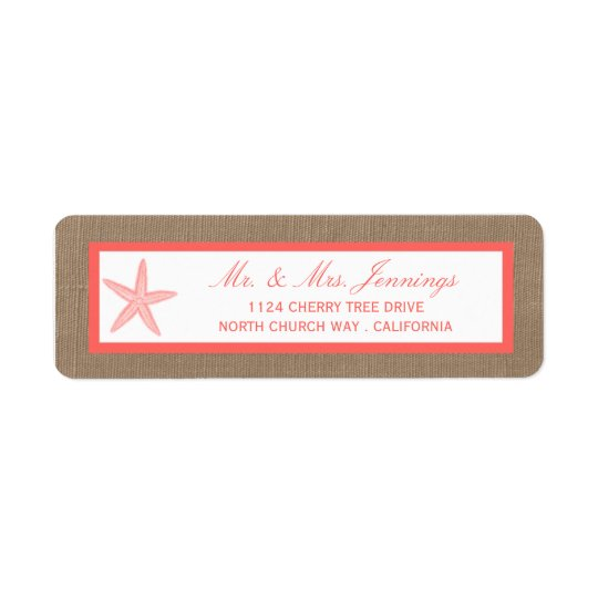 The Coral Starfish Burlap Beach Wedding Collection Return Address Label
