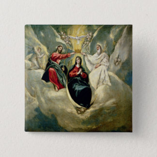 The Coronation of the Virgin, c.1591-92 2 Inch Square Button