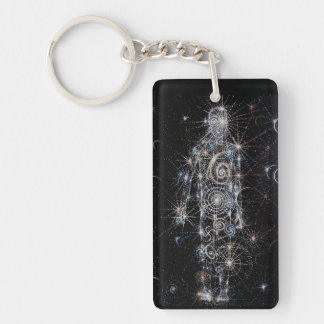the cosmic Being Double-Sided Rectangular Acrylic Keychain