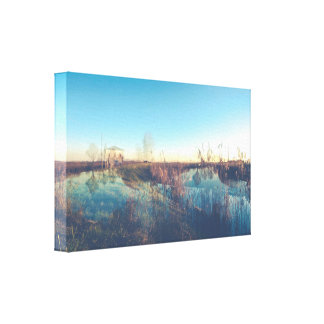 The cottage along the river (double exposure) canvas print