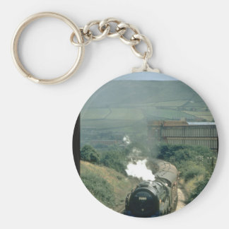 The cotton mill at Todmorden_Steam Trains Basic Round Button Keychain