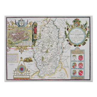 The Countie of Nottingham, engraved by Jodocus Poster