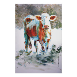 The Courage of Youth Cow Painting Poster