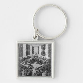 The Court of Justice Silver-Colored Square Keychain
