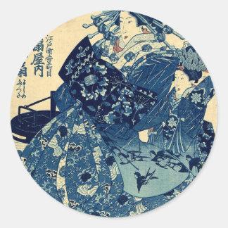 The Courtesan Hanao of Ogiya by Utagawa,Kuniyoshi Classic Round Sticker