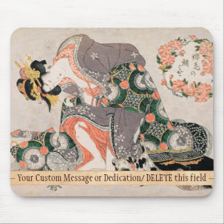 The Courtesan with cat  Kitagawa Utamaro geisha Mouse Pad