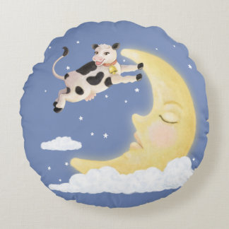 The Cow Jumped Over the Moon Round Pillow