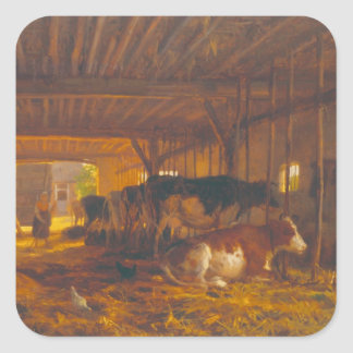 The Cow shed, 19th century Square Stickers