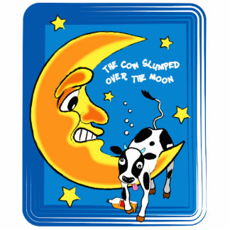 The cow slumped over the moon standing photo sculpture