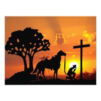 The Cowboy at the foot of the cross digital art Photo Art