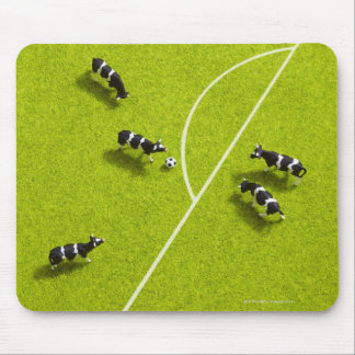 The cows playing soccer mouse pad