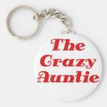 The Crazy Auntie Basic Round Button Keychain