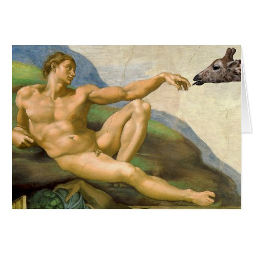 The Creation Of Adam Parody Greeting Card