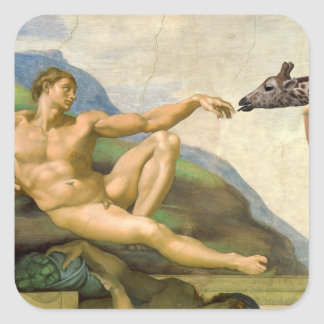 The Creation Of Adam Parody Square Sticker