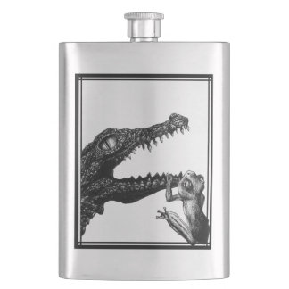 The Crocodile and the Frog Hip Flask