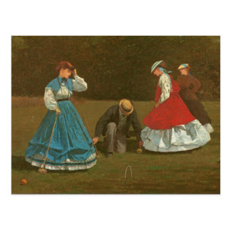 The croquet game, 1866 (oil on canvas) postcard