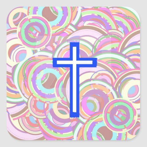 The Cross and The Circles. Square Stickers