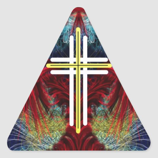 The Cross and the wings. Triangle Sticker