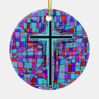The Cross in Stained Glass. Ceramic Ornament
