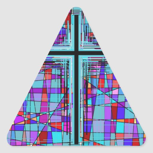 The Cross in Stained Glass. Stickers