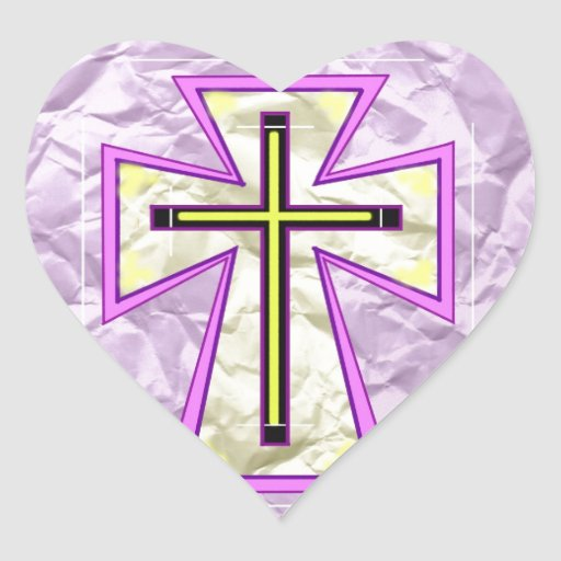 The Cross on Foil. Heart Stickers