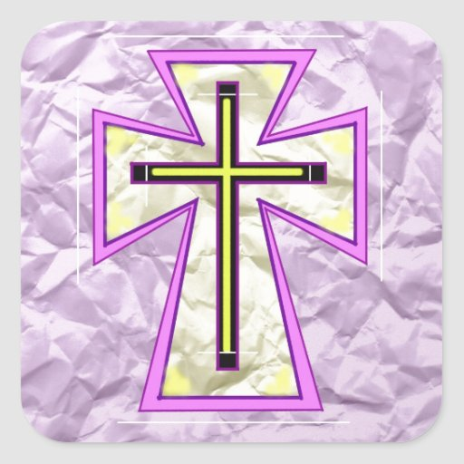 The Cross on Foil. Square Sticker