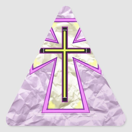 The Cross on Foil. Triangle Stickers