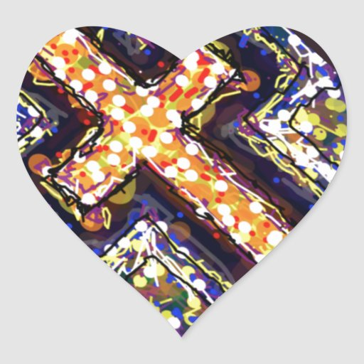 The Cross with a touch of abstract. Heart Stickers