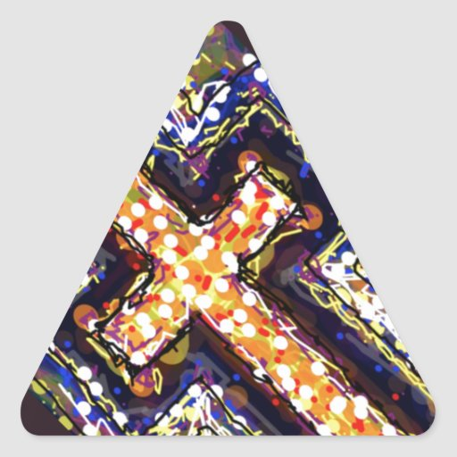 The Cross with a touch of abstract. Triangle Stickers