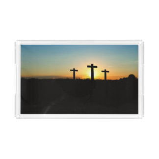 The Crucifixion Crosses at Sunset Acrylic Tray