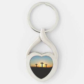 The Crucifixion Crosses at Sunset Keychain
