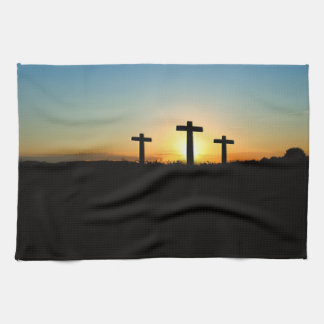 The Crucifixion Crosses at Sunset Kitchen Towel