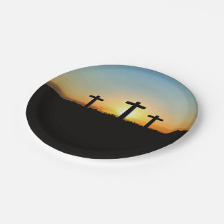 The Crucifixion Crosses at Sunset Paper Plate