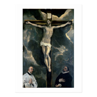 The Crucifixion with Two Donors, c.1580 (oil on ca Postcard