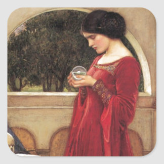 The Crystal Ball [John William Waterhouse] Square Sticker