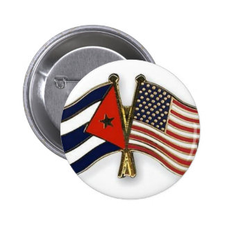 The Cuban Flag and the American Flag 2 Inch Round Button