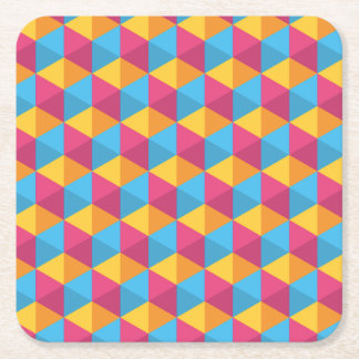The Cube Pattern I Square Paper Coaster