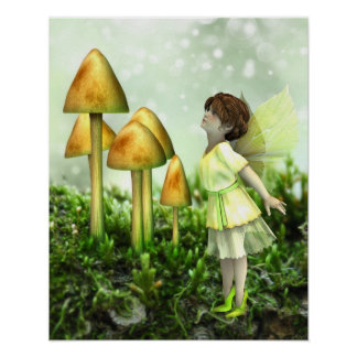 The Curious Fairy - Fairy and Toadstools Poster