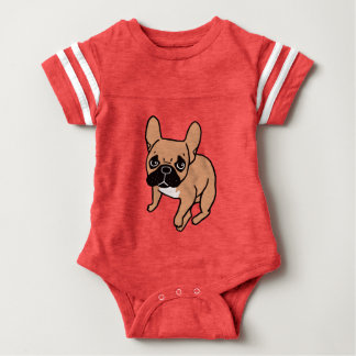 The Cute Black Mask Fawn Frenchie Needs Attention Baby Bodysuit