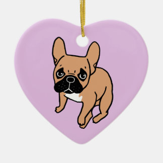 The Cute Black Mask Fawn Frenchie Needs Attention Ceramic Ornament