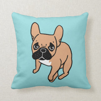 The Cute Black Mask Fawn Frenchie Needs Attention Throw Pillow
