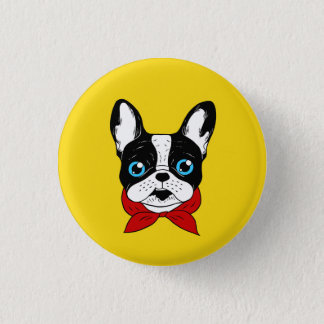 The cute Frenchie scout is ready for his adventure 1 Inch Round Button